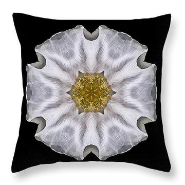 White Beach Rose I Flower Mandala Throw Pillow