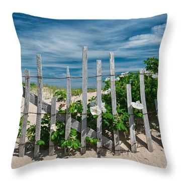 White Beach Roses Throw Pillow