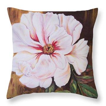 Throw Pillow featuring the painting White Beauty by Sharon Duguay