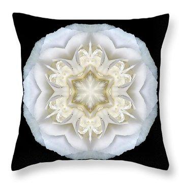 White Begonia II Flower Mandala Throw Pillow