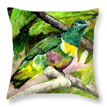 White-bibbed Fruit Dove  Throw Pillow