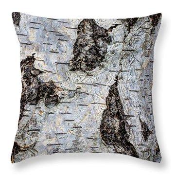 White Birch Abstract  Throw Pillow by Heidi Smith
