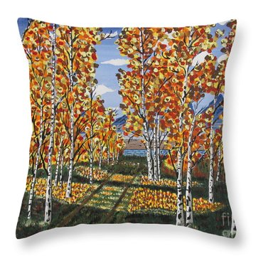 White Birch Reservoir  Throw Pillow