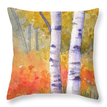White Birches In Autumn Throw Pillow