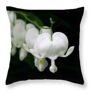 White Bleeding Hearts Throw Pillow by Rona Black