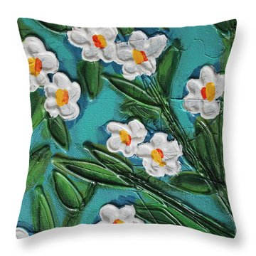White Blooms 2 Throw Pillow