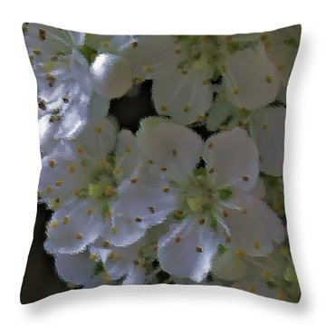White Blooms Throw Pillow
