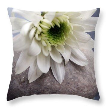 White Blossom On Rocks Throw Pillow