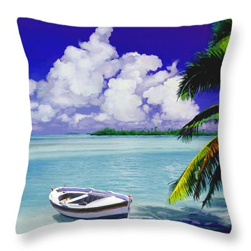 White Boat On A Tropical Island Throw Pillow