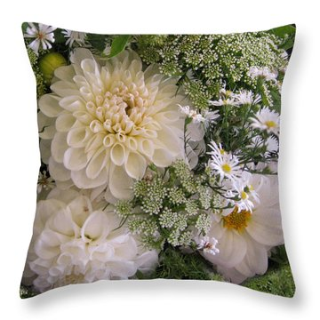White Bouquet Throw Pillow by Geraldine Alexander