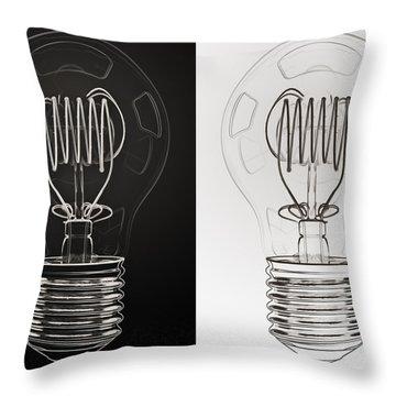 White Bulb Black Bulb Throw Pillow by Scott Norris