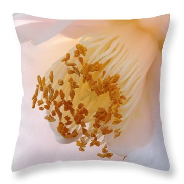 White Camellia Closeup Throw Pillow by Carol Groenen