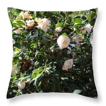 White Camellias Throw Pillow by Carol Groenen