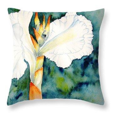 White Canna Flower Throw Pillow by Carlin Blahnik