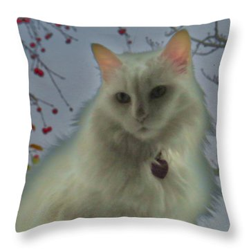 White Cat Dreams Throw Pillow