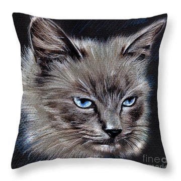 White Cat Portrait Throw Pillow
