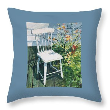 Throw Pillow featuring the painting White Chair And Day Lilies by Joy Nichols