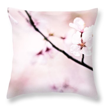 White Cherry Blossoms In The Sunlight Throw Pillow