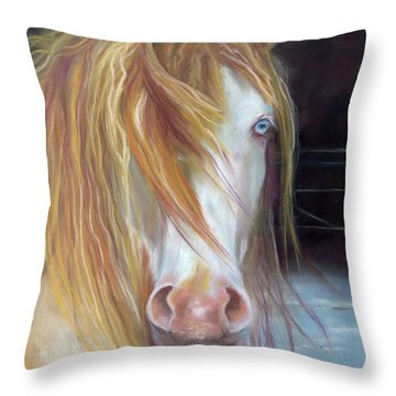 Throw Pillow featuring the painting White Chocolate Stallion by Karen Kennedy Chatham