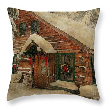 Throw Pillow featuring the photograph White Christmas  by Irina Hays