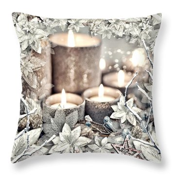 White Christmas Throw Pillow by Mo T