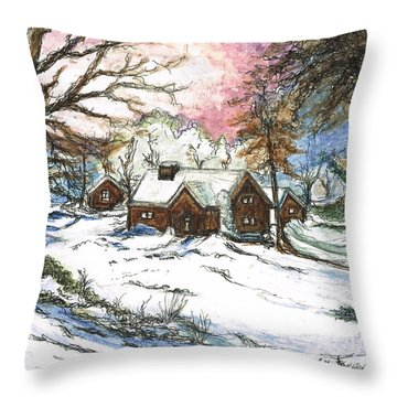 White Christmas Throw Pillow by Teresa White