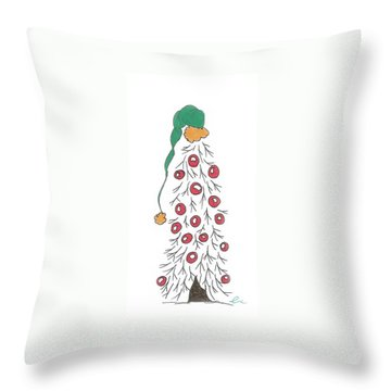 White Christmas Tree 2 Throw Pillow