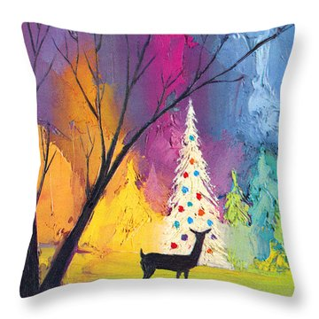 White Christmas Tree Throw Pillow