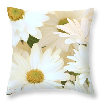 White Chrysanthemums Throw Pillow