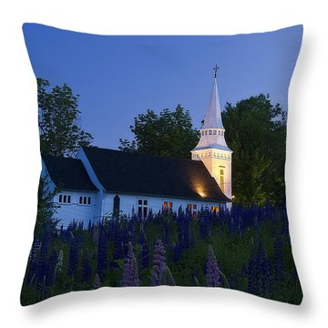 White Church At Dusk In A Field Of Lupines Throw Pillow
