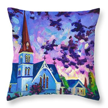 Easter Painting - White Church At Night Throw Pillow