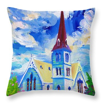 White Church Blue Sky Throw Pillow