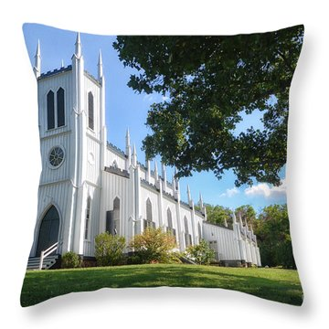 White Church Throw Pillow