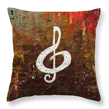 White Clef Throw Pillow by Carmen Guedez
