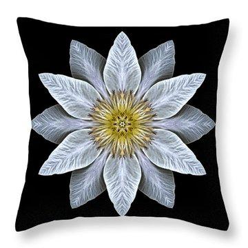 White Clematis Flower Mandala Throw Pillow
