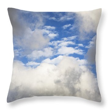 White Clouds And Blue Sky Throw Pillow