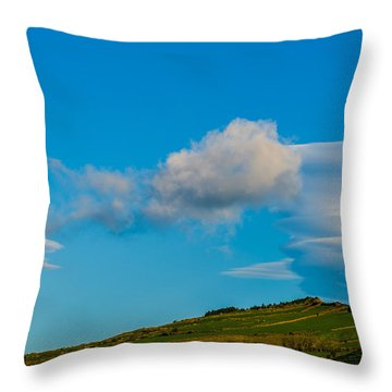 White Clouds Form Tornado Throw Pillow