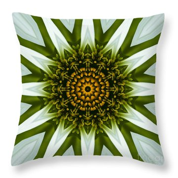 White Coneflower Mandala 12 Throw Pillow