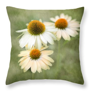 White Coneflower Trio Throw Pillow