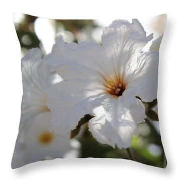 White Cordia Throw Pillow by Kume Bryant