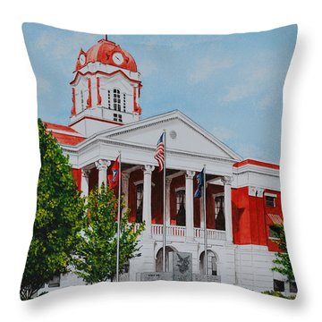 White County Courthouse - Veteran's Memorial Throw Pillow