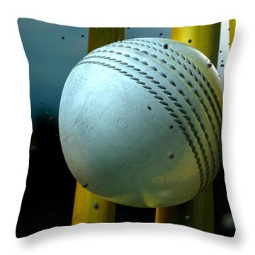White Cricket Ball And Wickets Throw Pillow by Allan Swart
