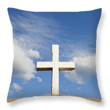 Throw Pillow featuring the photograph White Cross On Adobe Wall by Bryan Mullennix