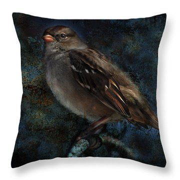 Throw Pillow featuring the photograph White-crowned Sparrow by Barbara Manis