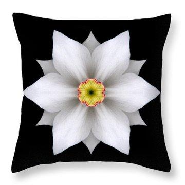 White Daffodil II Flower Mandala Throw Pillow by David J Bookbinder