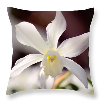 White Daffodil Throw Pillow by Tommytechno Sweden