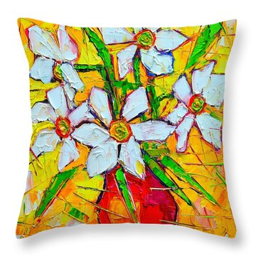 White Daffodils  Throw Pillow by Ana Maria Edulescu