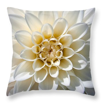 White Dahlia Throw Pillow by Carsten Reisinger