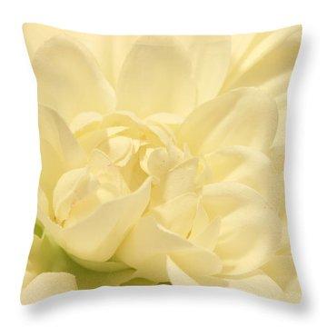 White Dahlia Dreams Throw Pillow