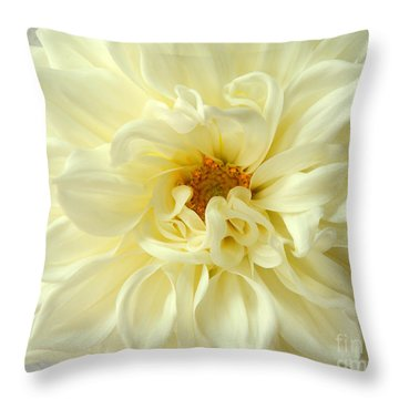 Throw Pillow featuring the photograph White Dahlia by Olivia Hardwicke